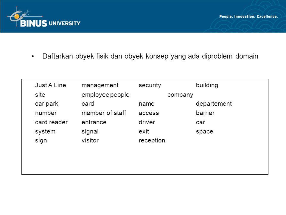 Daftarkan obyek fisik dan obyek konsep yang ada diproblem domain