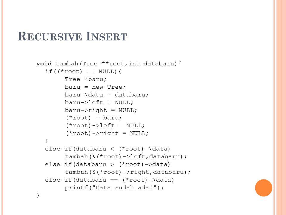 Recursive Insert void tambah(Tree **root,int databaru){