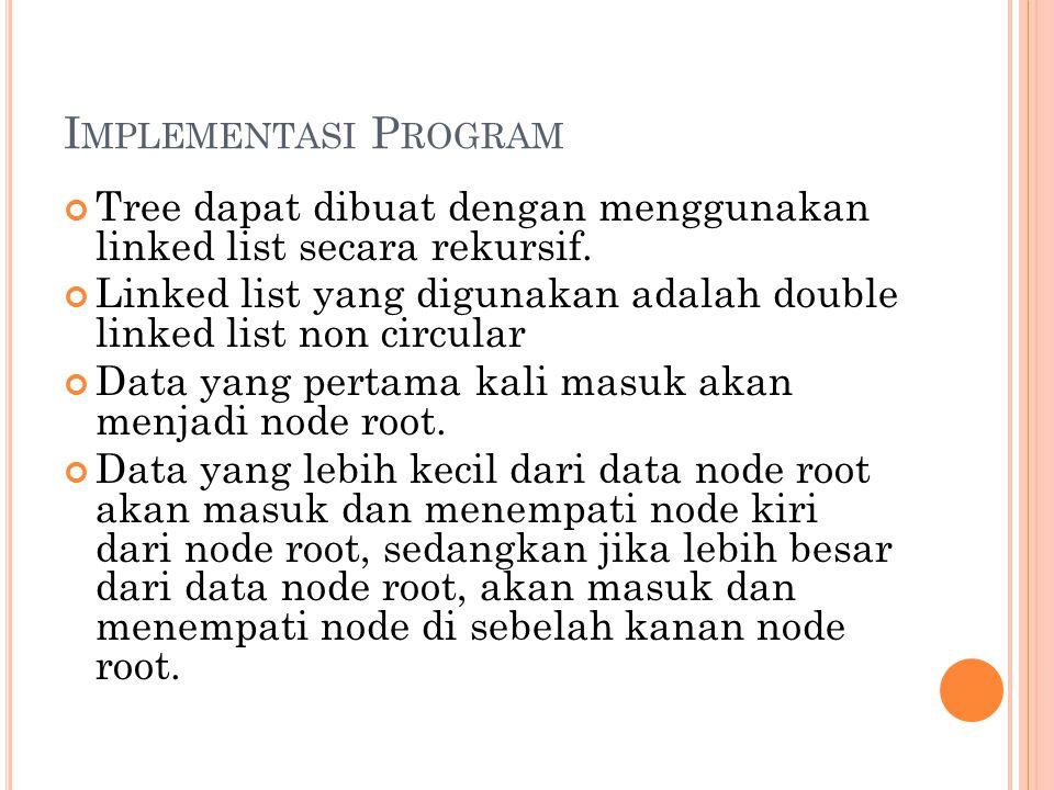 Implementasi Program Tree dapat dibuat dengan menggunakan linked list secara rekursif.