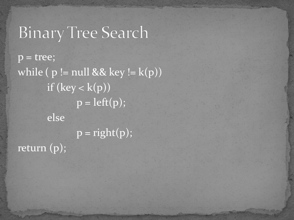 Binary Tree Search p = tree; while ( p != null && key != k(p))