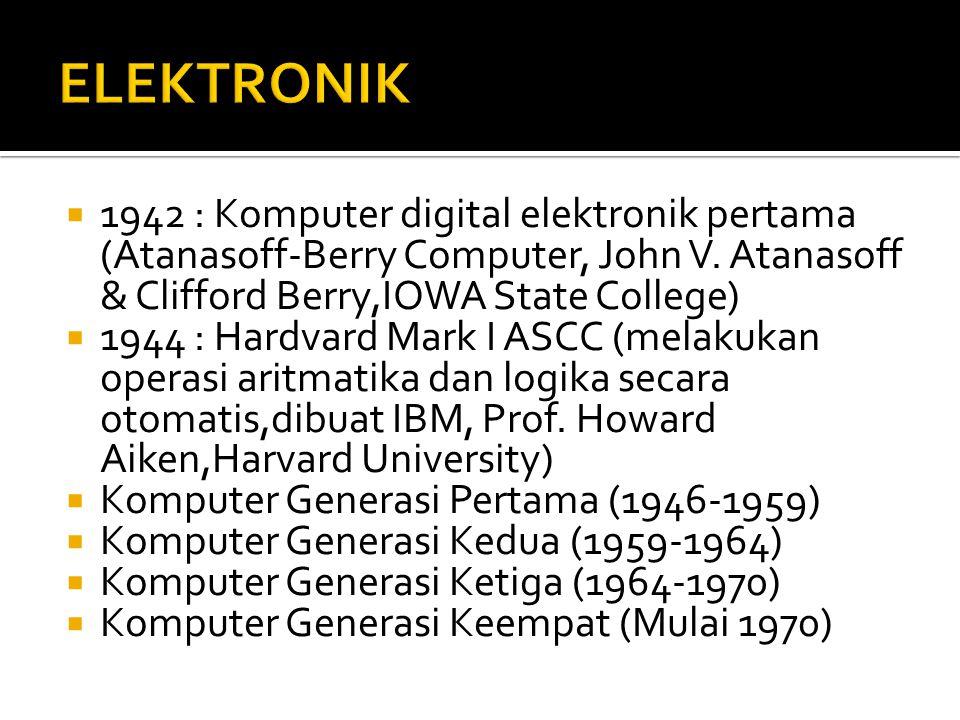 ELEKTRONIK 1942 : Komputer digital elektronik pertama (Atanasoff-Berry Computer, John V. Atanasoff & Clifford Berry,IOWA State College)