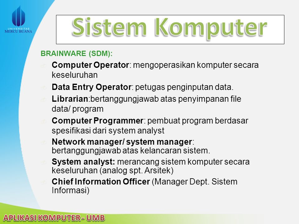 Sistem Komputer BRAINWARE (SDM): Computer Operator: mengoperasikan komputer secara keseluruhan. Data Entry Operator: petugas penginputan data.