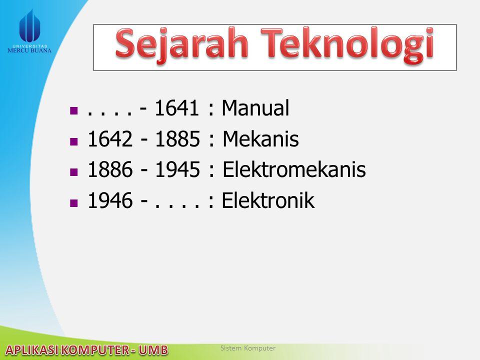 Sejarah Teknologi . . . . - 1641 : Manual 1642 - 1885 : Mekanis