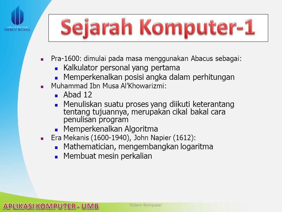 Sejarah Komputer-1 Kalkulator personal yang pertama