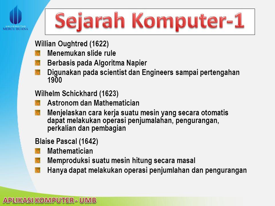 Sejarah Komputer-1 Willian Oughtred (1622) Menemukan slide rule