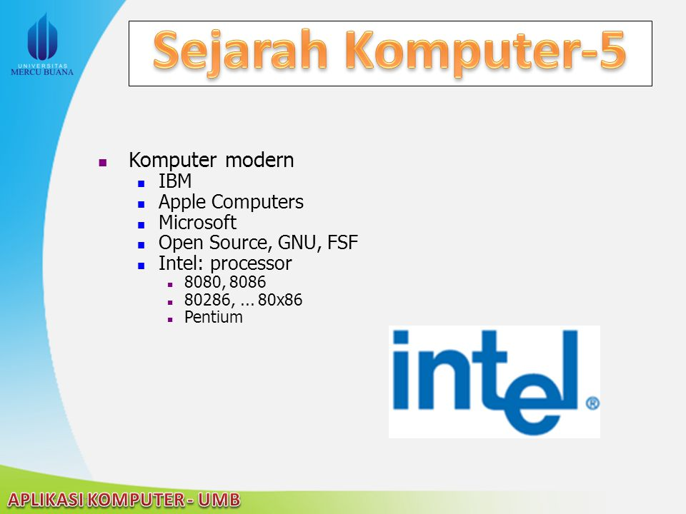Sejarah Komputer-5 Komputer modern IBM Apple Computers Microsoft