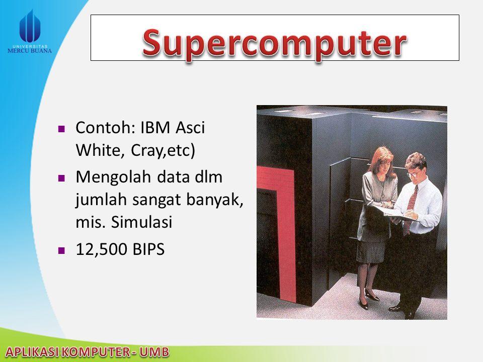 Supercomputer Contoh: IBM Asci White, Cray,etc)