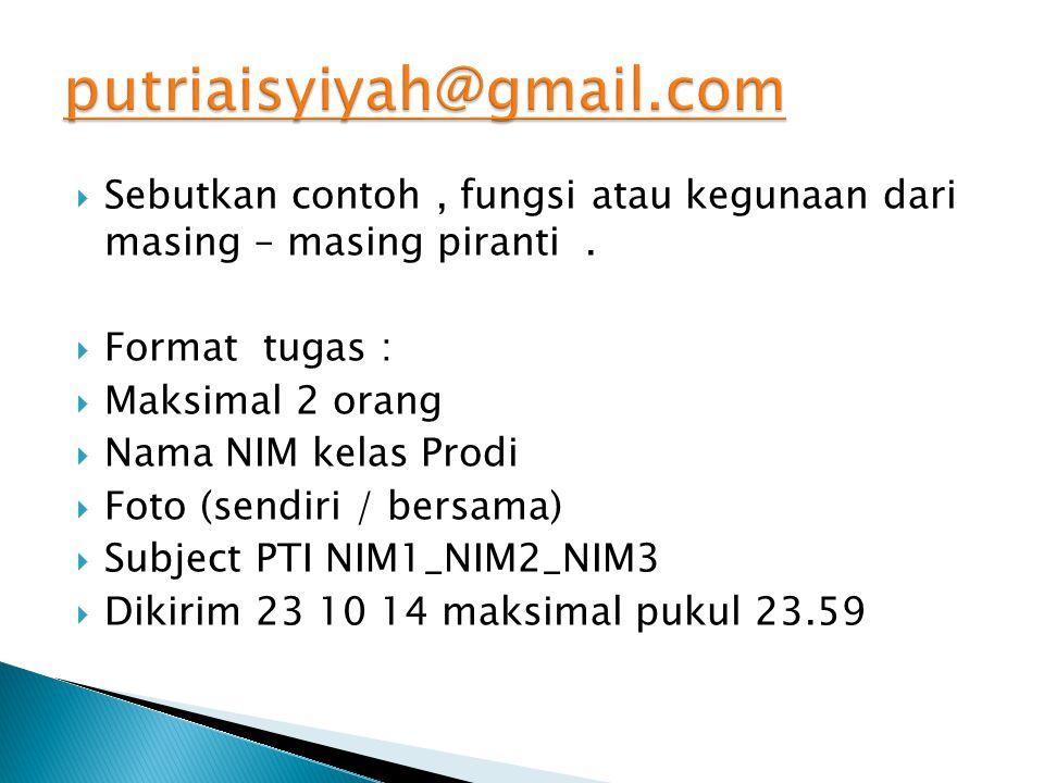 putriaisyiyah@gmail.com Sebutkan contoh , fungsi atau kegunaan dari masing – masing piranti . Format tugas :