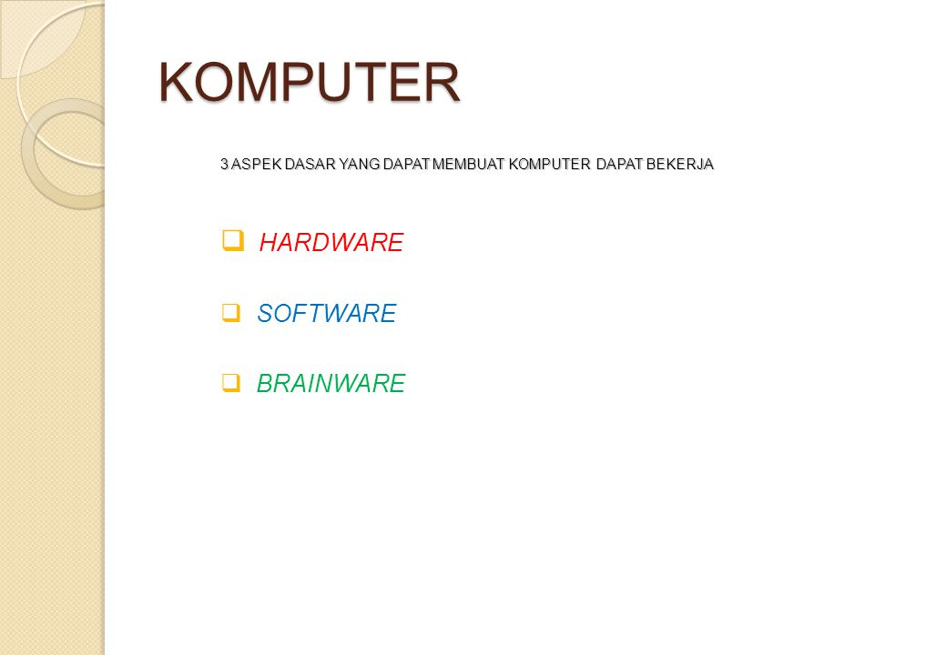 KOMPUTER HARDWARE SOFTWARE BRAINWARE