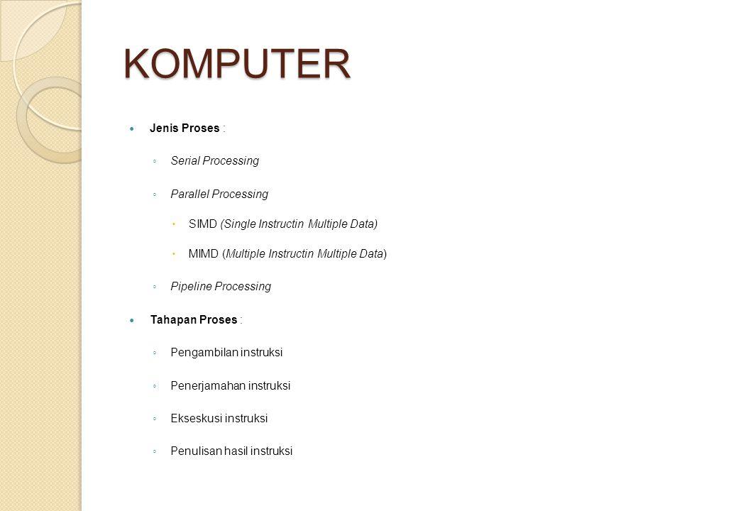 KOMPUTER Jenis Proses : Serial Processing Parallel Processing