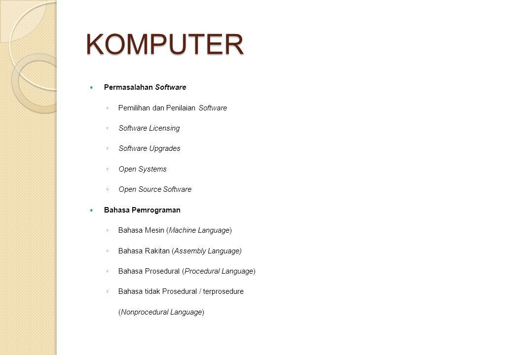 KOMPUTER Permasalahan Software Pemilihan dan Penilaian Software