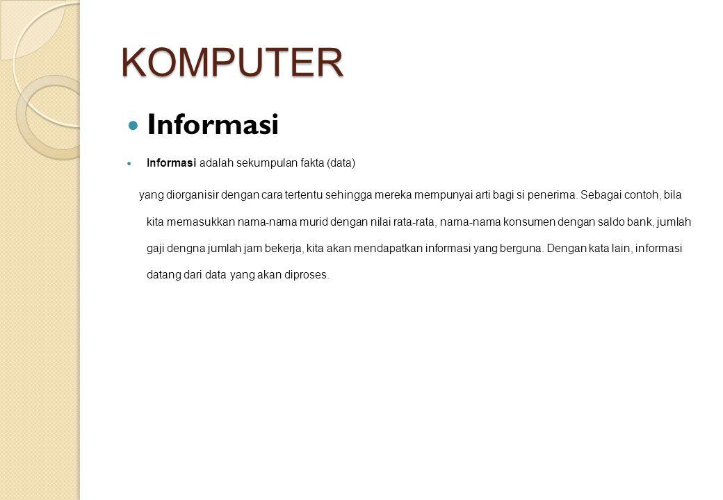 KOMPUTER Informasi Informasi adalah sekumpulan fakta (data)