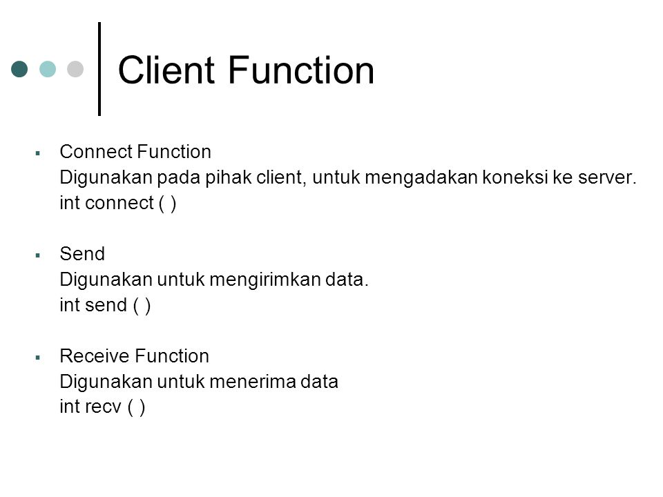Client Function Connect Function