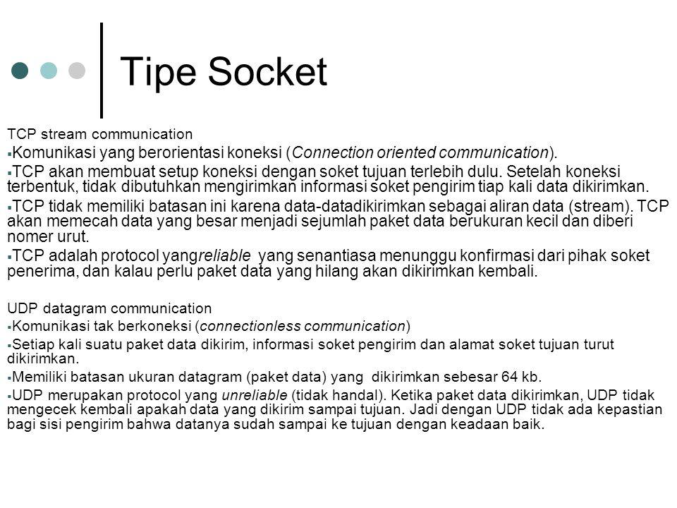 Tipe Socket TCP stream communication. Komunikasi yang berorientasi koneksi (Connection oriented communication).