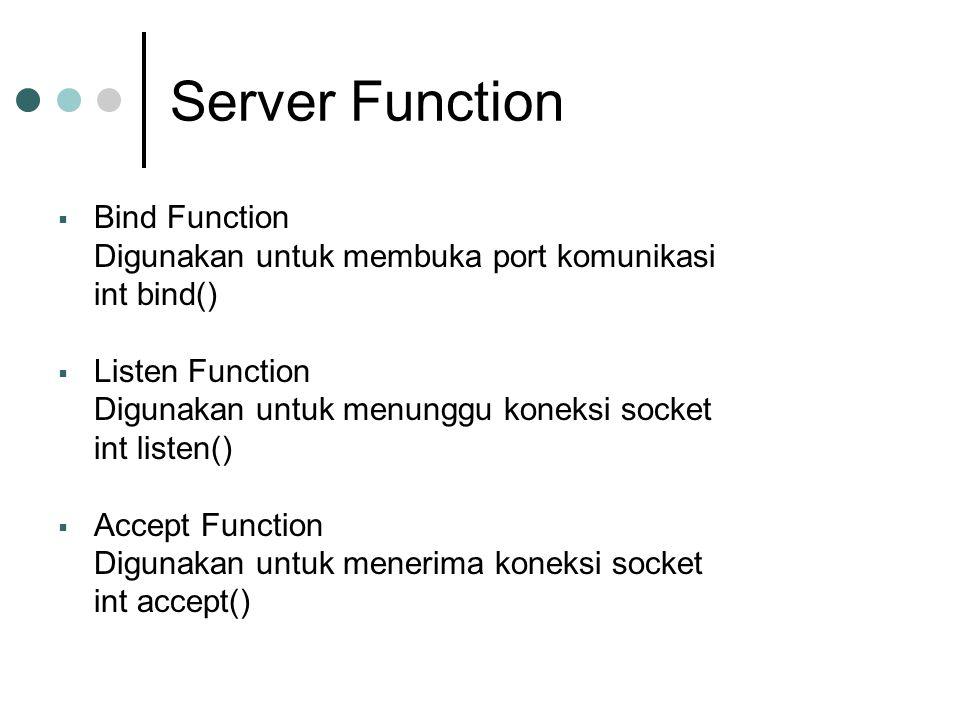 Server Function Bind Function Digunakan untuk membuka port komunikasi