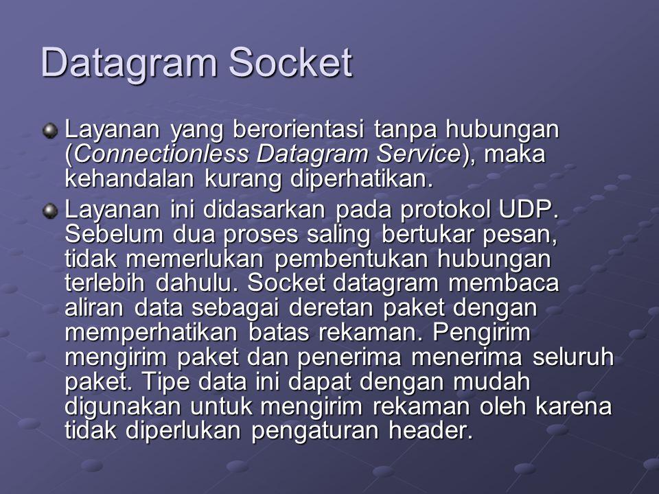 Datagram Socket Layanan yang berorientasi tanpa hubungan (Connectionless Datagram Service), maka kehandalan kurang diperhatikan.