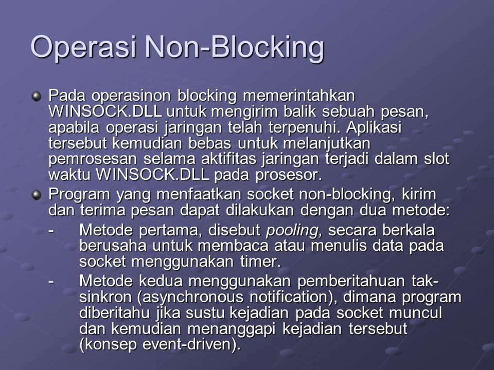 Operasi Non-Blocking