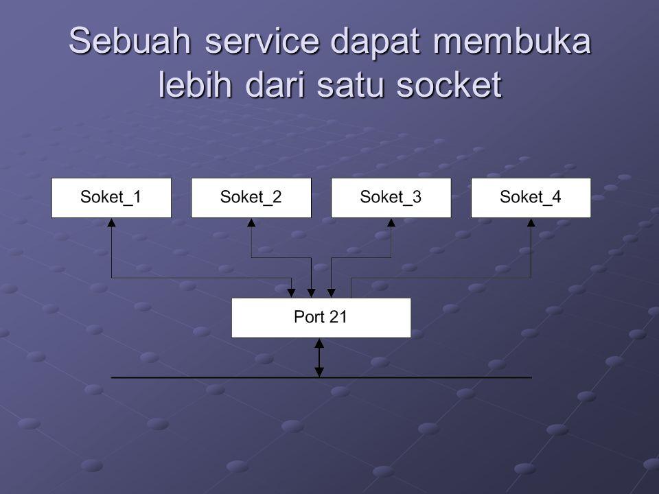 Sebuah service dapat membuka lebih dari satu socket