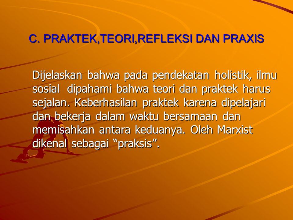 C. PRAKTEK,TEORI,REFLEKSI DAN PRAXIS