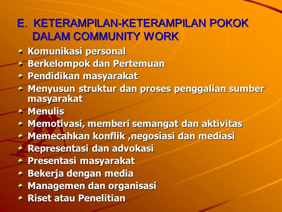 E. KETERAMPILAN-KETERAMPILAN POKOK DALAM COMMUNITY WORK