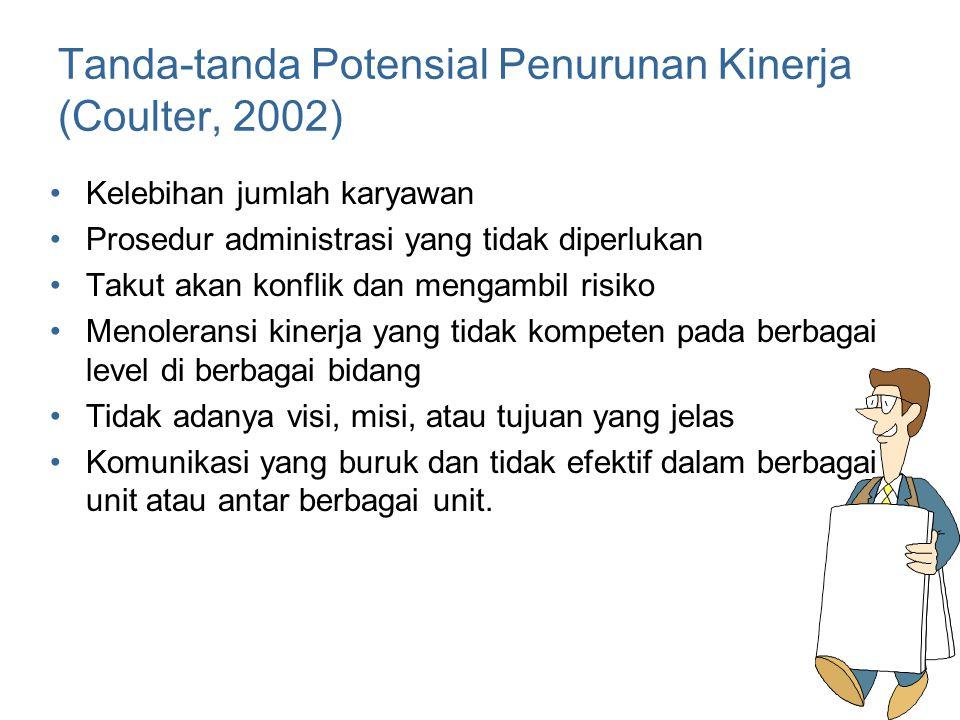 Tanda-tanda Potensial Penurunan Kinerja (Coulter, 2002)