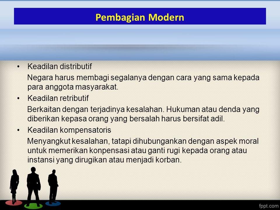 Pembagian Modern Keadilan distributif