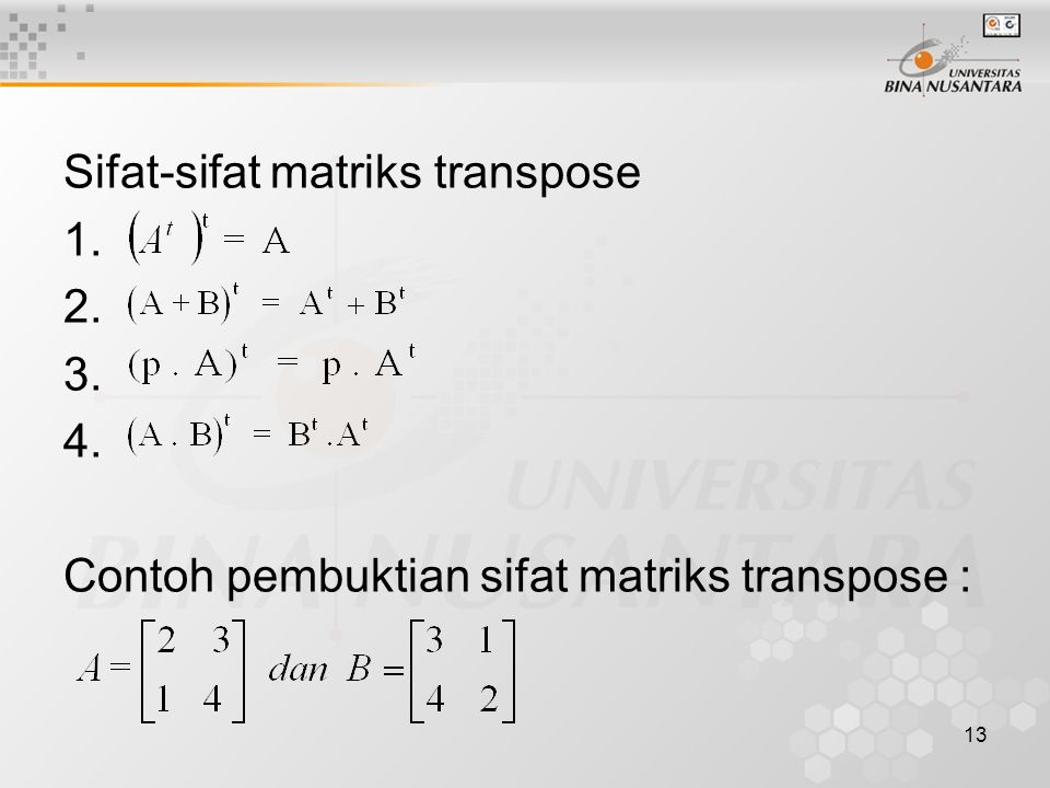 Sifat-sifat matriks transpose