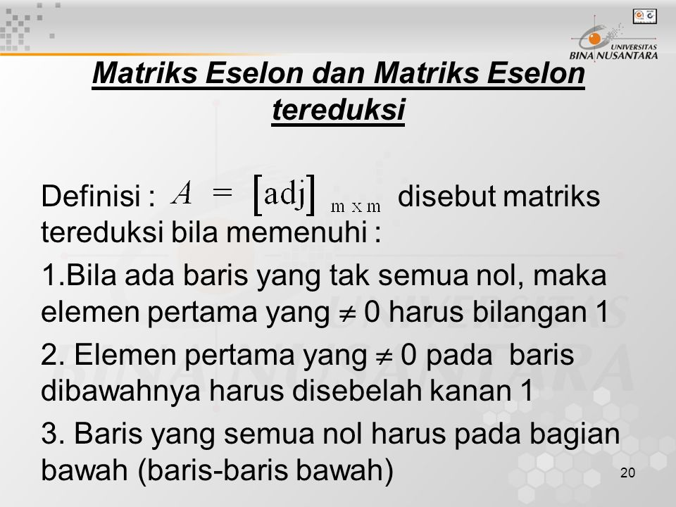 Matriks Eselon dan Matriks Eselon tereduksi