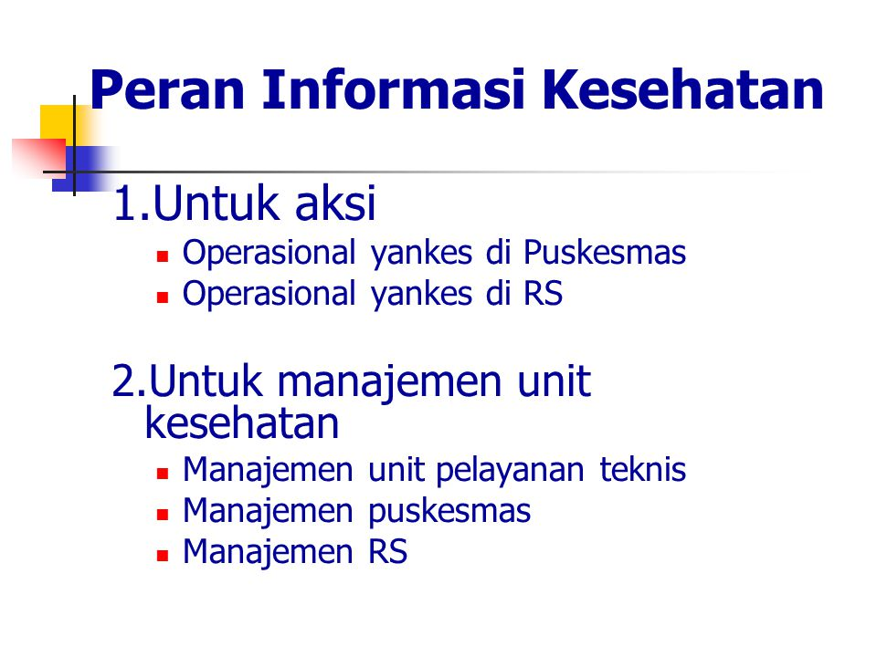 Peran Informasi Kesehatan