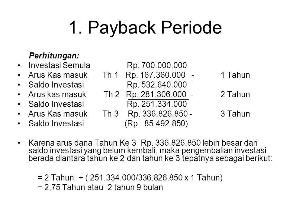 1. Payback Periode Perhitungan: Investasi Semula Rp. 700.000.000
