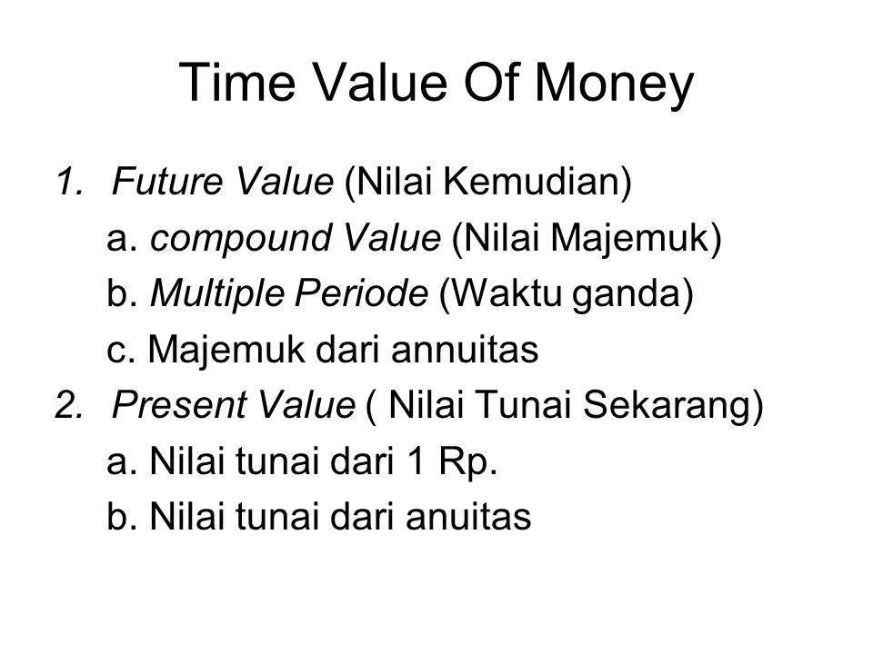 Time Value Of Money Future Value (Nilai Kemudian)