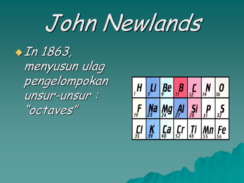 John Newlands In 1863, menyusun ulag pengelompokan unsur-unsur : octaves