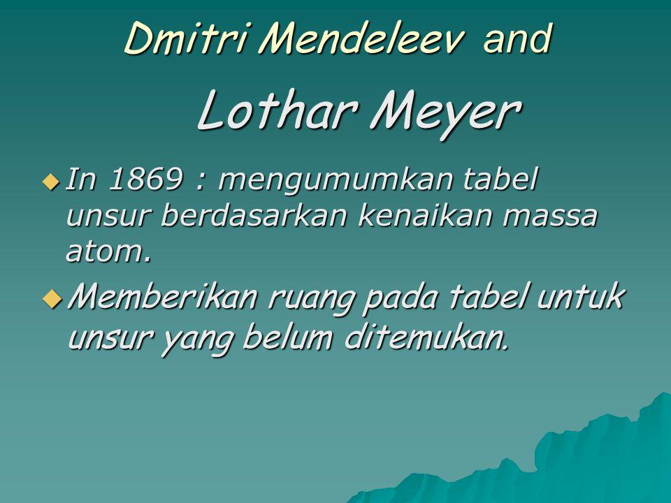 Lothar Meyer Dmitri Mendeleev and