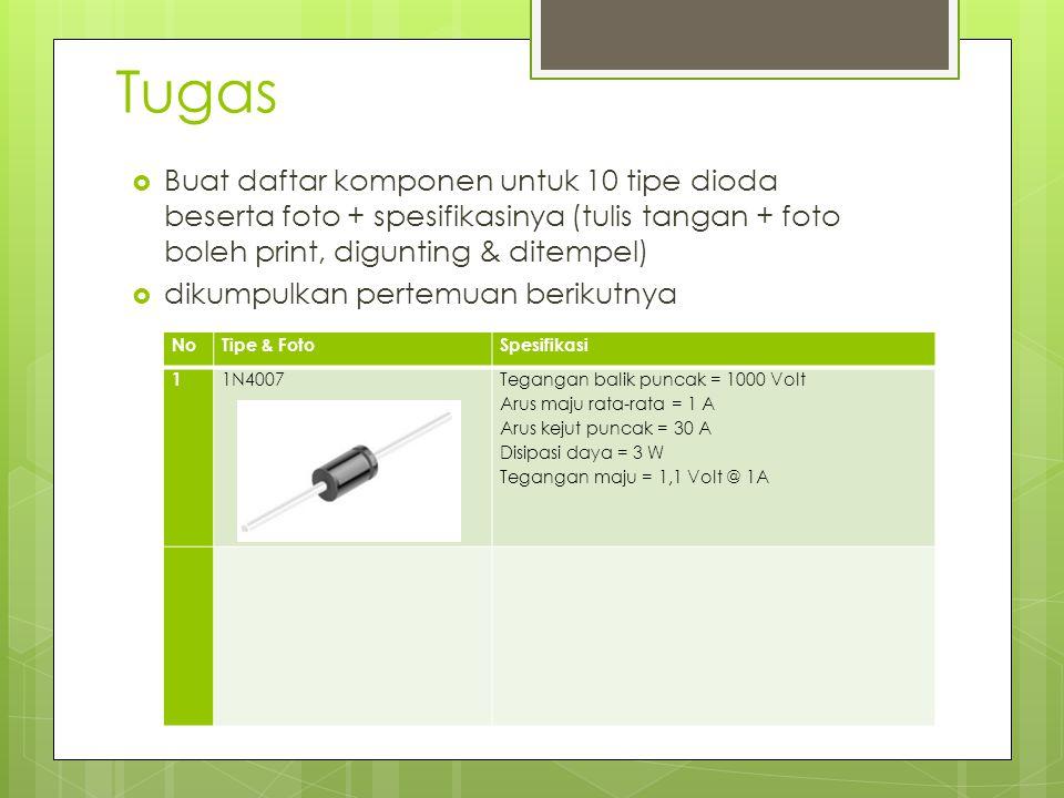 Tugas Buat daftar komponen untuk 10 tipe dioda beserta foto + spesifikasinya (tulis tangan + foto boleh print, digunting & ditempel)