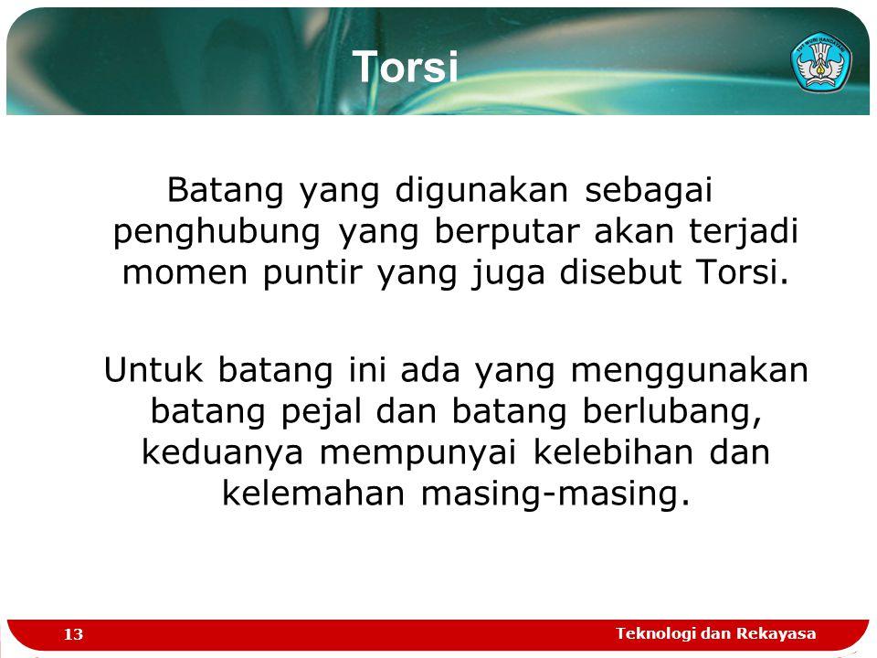 Torsi Batang yang digunakan sebagai penghubung yang berputar akan terjadi momen puntir yang juga disebut Torsi.