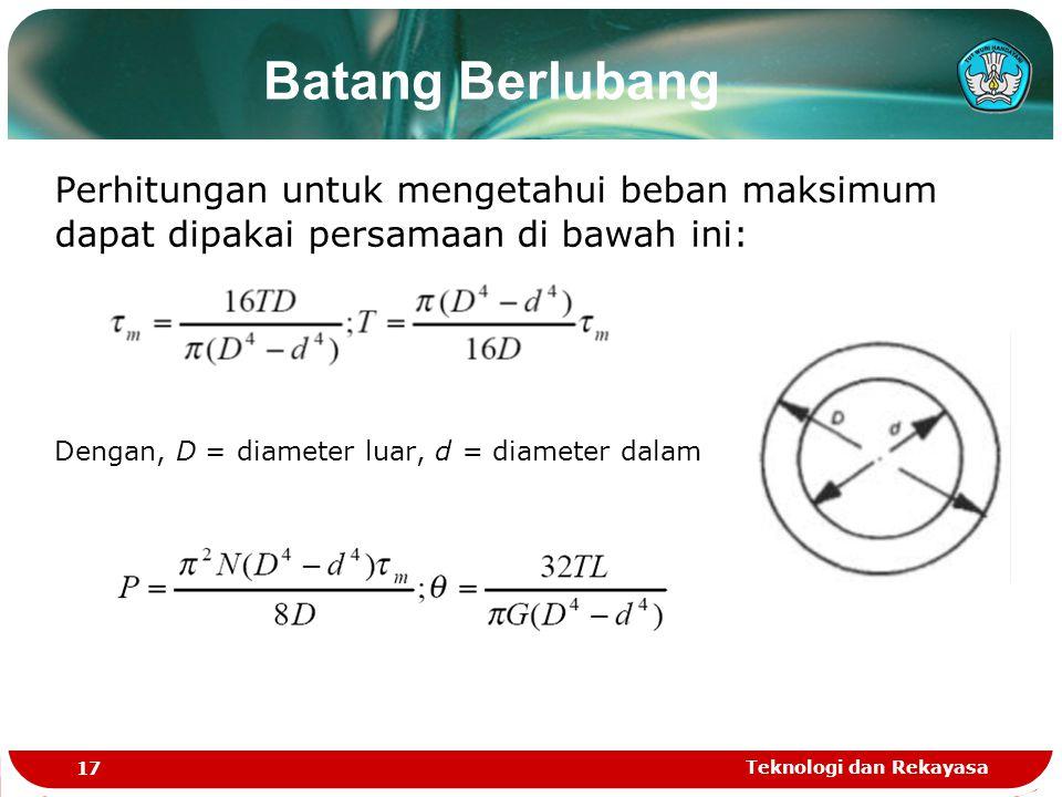 Batang Berlubang Perhitungan untuk mengetahui beban maksimum dapat dipakai persamaan di bawah ini: Dengan, D = diameter luar, d = diameter dalam.