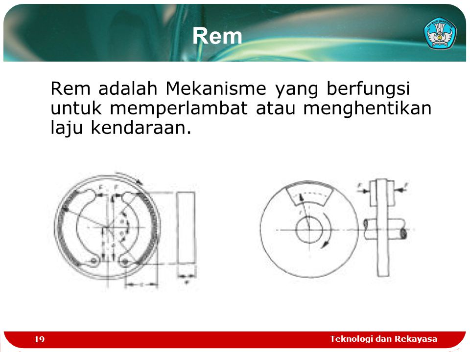 Rem Rem adalah Mekanisme yang berfungsi untuk memperlambat atau menghentikan laju kendaraan.