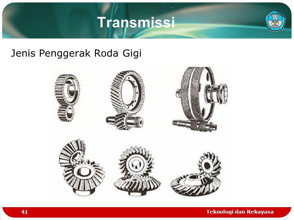Transmissi Jenis Penggerak Roda Gigi Teknologi dan Rekayasa