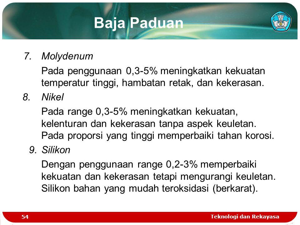 Baja Paduan 7. Molydenum. Pada penggunaan 0,3-5% meningkatkan kekuatan temperatur tinggi, hambatan retak, dan kekerasan.