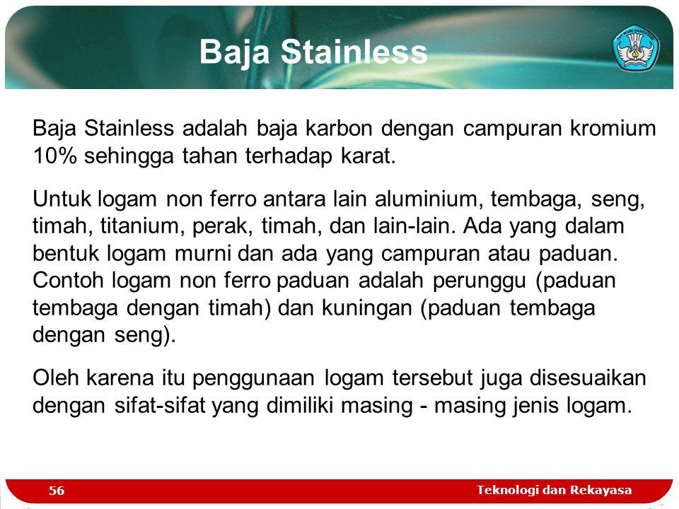 Baja Stainless Baja Stainless adalah baja karbon dengan campuran kromium 10% sehingga tahan terhadap karat.