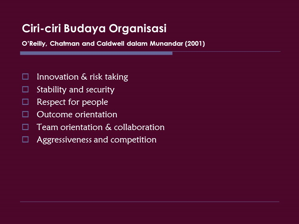 Ciri-ciri Budaya Organisasi O'Reilly, Chatman and Caldwell dalam Munandar (2001)