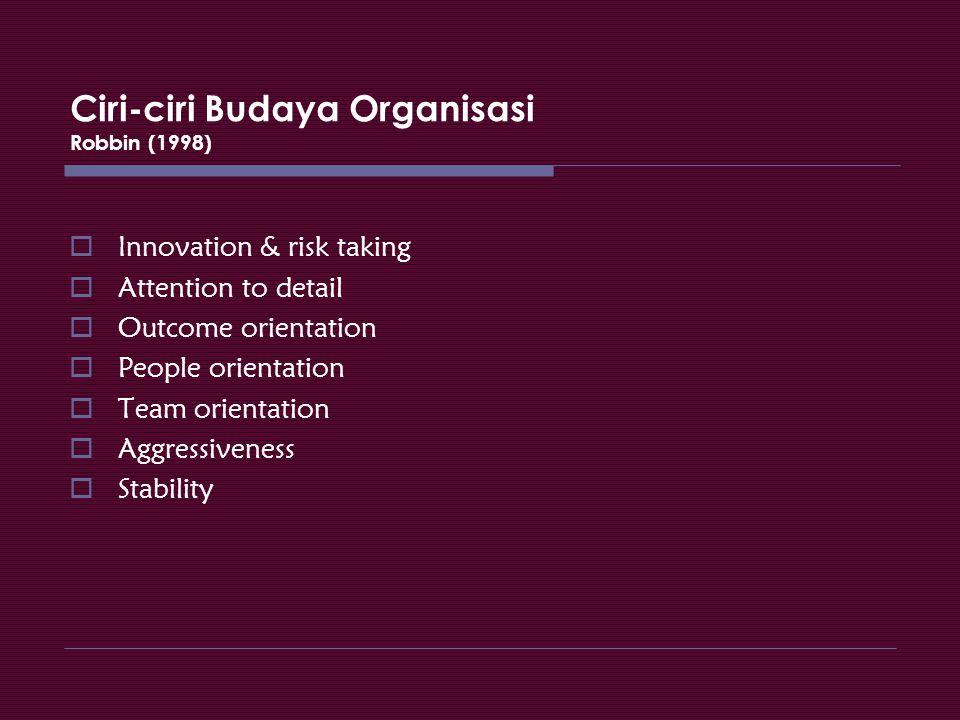 Ciri-ciri Budaya Organisasi Robbin (1998)