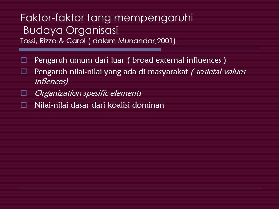 Faktor-faktor tang mempengaruhi Budaya Organisasi Tossi, Rizzo & Carol ( dalam Munandar,2001)
