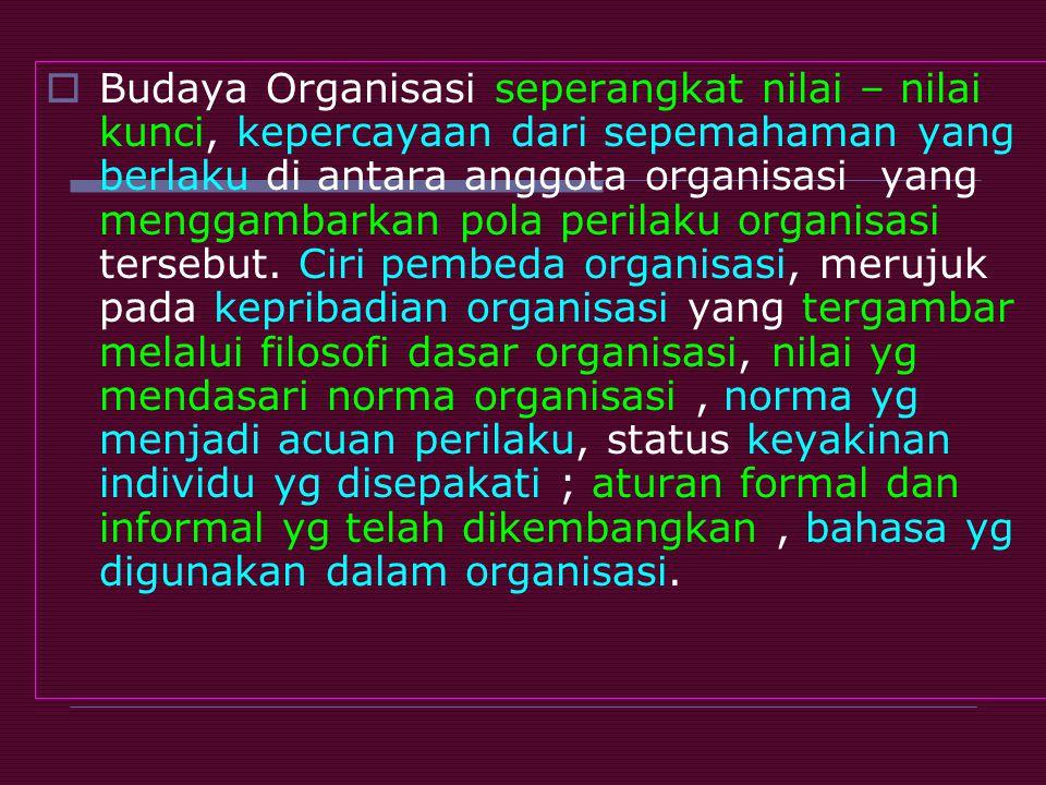 Budaya Organisasi seperangkat nilai – nilai kunci, kepercayaan dari sepemahaman yang berlaku di antara anggota organisasi yang menggambarkan pola perilaku organisasi tersebut.
