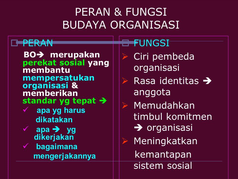 PERAN & FUNGSI BUDAYA ORGANISASI