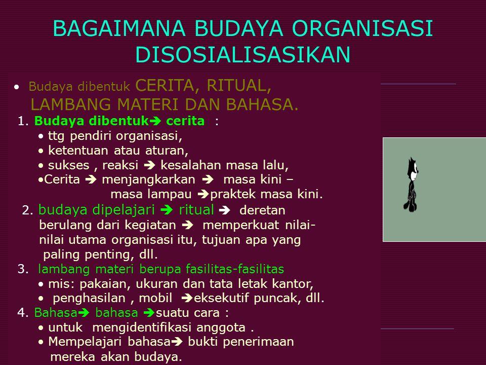 BAGAIMANA BUDAYA ORGANISASI DISOSIALISASIKAN