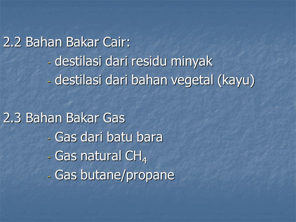 2.2 Bahan Bakar Cair: destilasi dari residu minyak. destilasi dari bahan vegetal (kayu) 2.3 Bahan Bakar Gas.