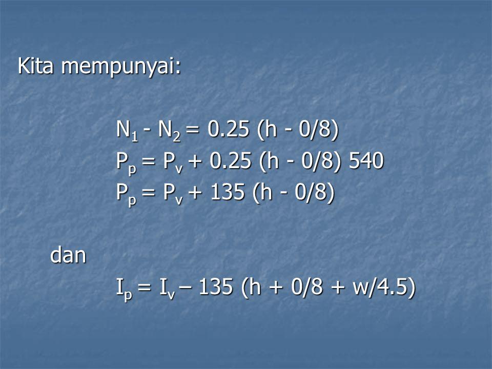 Kita mempunyai: N1 - N2 = 0.25 (h - 0/8) Pp = Pv + 0.25 (h - 0/8) 540. Pp = Pv + 135 (h - 0/8) dan.