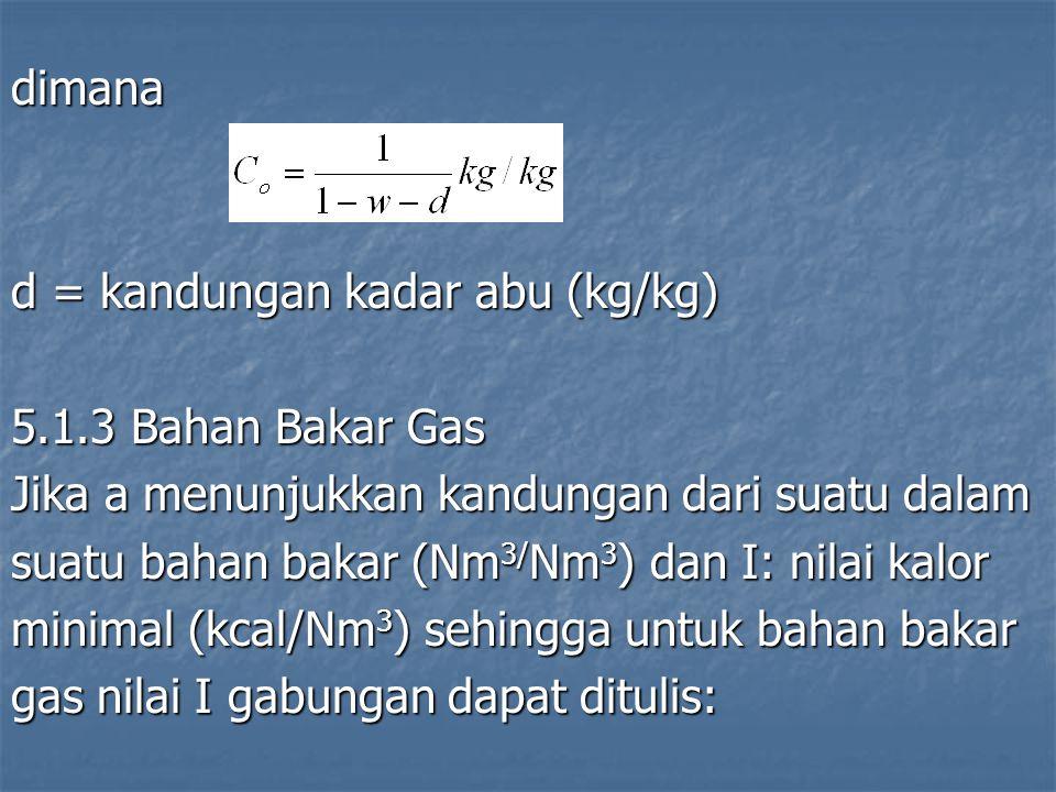 dimana d = kandungan kadar abu (kg/kg) 5.1.3 Bahan Bakar Gas. Jika a menunjukkan kandungan dari suatu dalam.