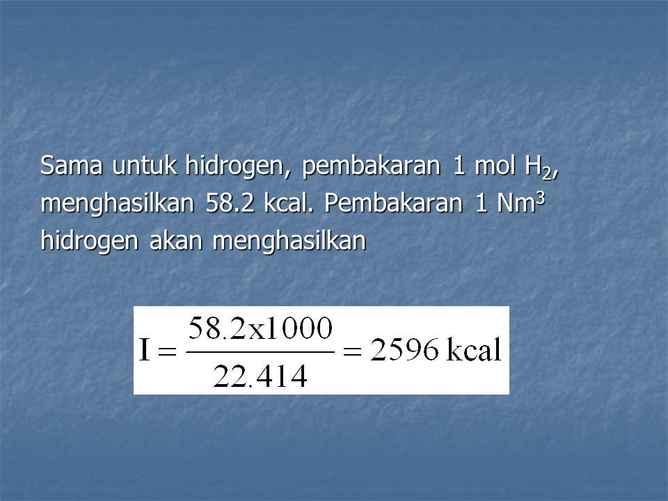 Sama untuk hidrogen, pembakaran 1 mol H2,
